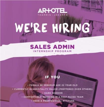 lowongan magang sales admin arthotel